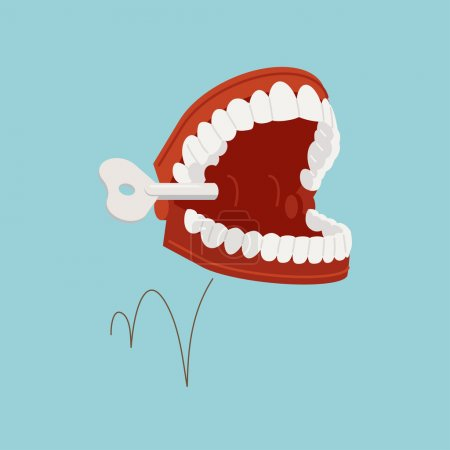 Illustration for Vector illustration on jumping chattering teeth practical joke item - Royalty Free Image