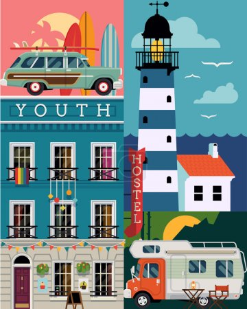 Illustration for Beautiful vector flat design background on seasonal tourism, travel and summer vacation with retro surf car, hostel building facade, lighthouse, caravan camping car and more - Royalty Free Image