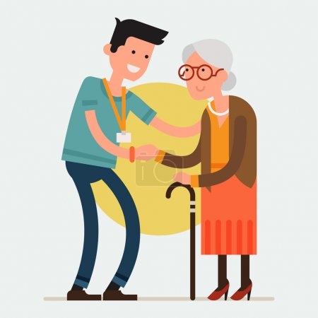 Illustration for Modern creative flat design on young volunteer man caring for elderly woman. Adult man helping and supporting old aged female. Older person standing holding hand of adult man, full length - Royalty Free Image