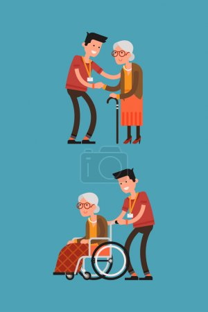 Illustration for Set of lovely flat character design on young volunteer man caring for elderly woman. Adult man helping and supporting old aged female. Senior woman in wheelchair with careful man - Royalty Free Image