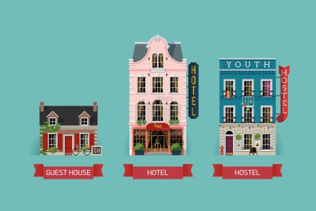 Illustration for Set of beautiful detailed lodging and accommodation building facades with guest house, expensive luxury hotel and low cost youth hostel - Royalty Free Image
