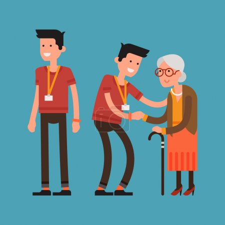 Illustration for Set of lovely flat character design on young volunteer man caring for elderly woman. Adult man helping and supporting old aged female. Older person standing holding hand of adult man, full length - Royalty Free Image