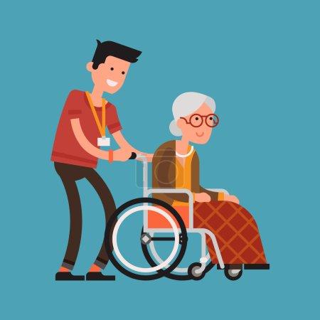 Illustration pour Conception vectorielle moderne sur la femme âgée en fauteuil roulant avec un homme prudent. Un jeune volontaire qui s'occupe d'une femme âgée. Homme adulte aidant et soutenant une femme âgée - image libre de droit