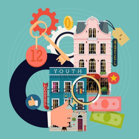 Illustration for Cool detailed concept illustration on hotel prices search and comparison featuring hotel and hostel buildings facade, hand with magnifier, room key, money bills, coins and social media icons - Royalty Free Image