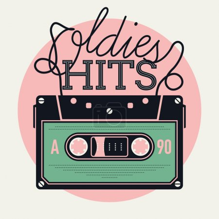 Illustration for Cool vector creative and detailed concept illustration on retro music and oldies hits with analogue audio cassette tape and lettering - Royalty Free Image