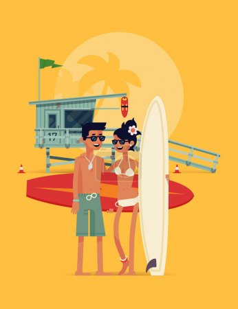 Illustration for Lovely detailed vector modern flat character design on happy young couple of surfers standing full length on beach holding surfboards and smiling with lifeguard tower in background - Royalty Free Image