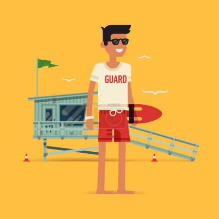 Illustration for Cool vector modern flat character design on young male lifeguard standing full length holding rescue buoy with lifeguard tower in background - Royalty Free Image