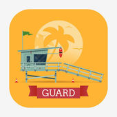 Lovely vector modern flat design web icon with rounded corners on lifeguard with detailed lifeguard tower on the beach and title ribbon with sample text
