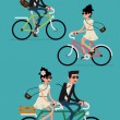Постер, плакат: Young hipsters couple riding