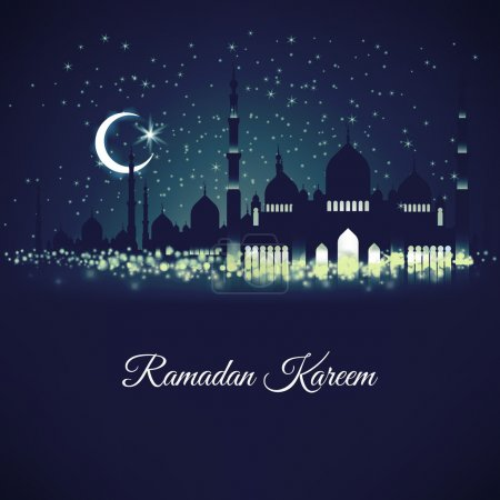 Generous Ramadan with mosque silhouettes
