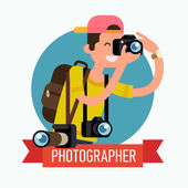 Cool vector photographer character web icon with cameras and backpack taking photos