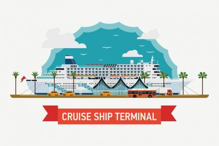 Illustration for Cool detailed flat design vector illustration on cruising and cruise ship terminal at sea port with moored transatlantic liner, terminal building, boarding bridges, taxis   Ocean traveling visual - Royalty Free Image