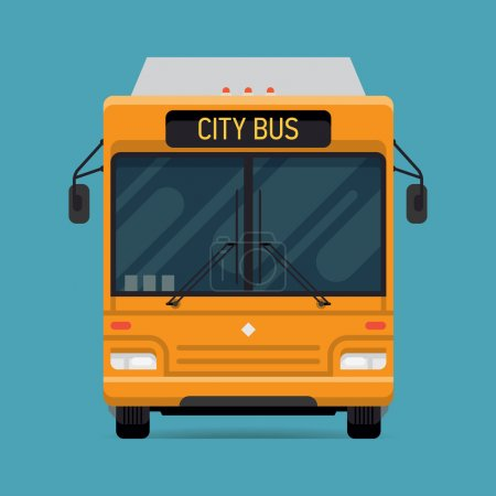 Photo for Cool vector modern flat design public transport vehicle city transit shorter distance bus, front view, isolated - Royalty Free Image