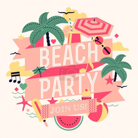 Photo for Beautiful beach party design element with palms, beach items, music notes and more. Ideal for seasonal event poster, web banner or invitation - Royalty Free Image