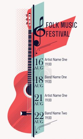 Illustration for Beautiful modern classical music festival poster or flyer template. Ideal for local events announcement and promotions - Royalty Free Image