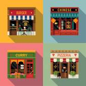 Cool set of vector detailed flat design restaurants facade icons Burger Chinese food Indian curry and Italian pizzeria fronts Ideal for restaurant business web publications and graphic design