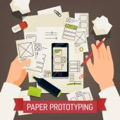 Creative paper prototyping detailed vector concept design | Application making process with specialist working on software interface usability and ergonomic design using paper elements