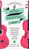 Beautiful modern classical music festival poster or flyer template with violin and guitar Ideal for local events announcement and promotions