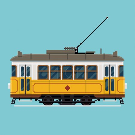 Illustration for Lovely retro vector detailed tram car, side view, isolated. Mass transit vintage graphic element on electric tramway car. Ideal for urban lifestyle, touristic and sightseeing graphic and web design - Royalty Free Image