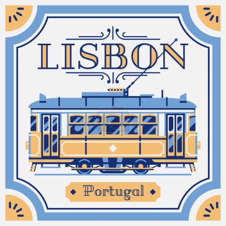 Illustration for Beautiful Portuguese azulejos tile work piece souvenir styled vector design element or background on Lisbon, Portugal. Ideal for tourism themed web publications and graphic design - Royalty Free Image