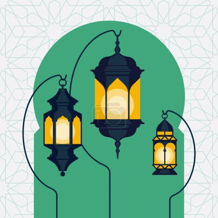 Ramadan lanterns on Arabic doorway