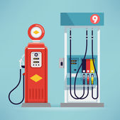 modern and retro gas pumps