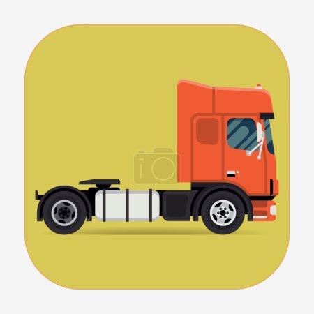 Illustration pour Cabine avant plate vectorielle fraîche au-dessus du camion-tracteur. Élément de conception de transport de moteur de remorquage lourd européen . - image libre de droit