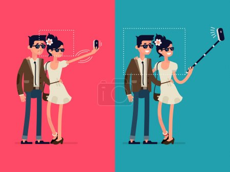 Illustration for Vector creative character design infographics on young couple standing full length trying to make a self portrait together with mobile device in hand and using selfie stick - Royalty Free Image