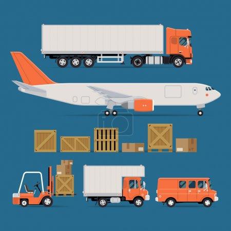 Illustration pour Ensemble d'icônes vectorielles de transport de marchandises avec camion semi-remorque à nez plat, avion à réaction de fret, conteneurs et caisses en bois et en carton, chariot élévateur, camion de livraison local et fourgon de fret - image libre de droit