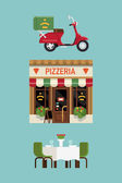 Pizzeria restaurant with delivery service scooter