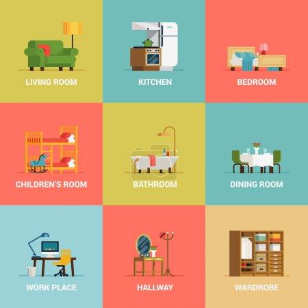 Illustration pour Scénographie d'icônes vectoriels belle et colorée décoration chambre types plat dernier cri avec salon, chambre, cuisine, enfants salle, salle de bain, salle à manger, espace de travail et couloir - image libre de droit