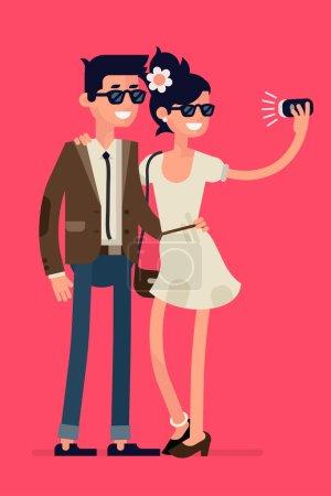 Ilustración de Fresco diseño plano en situación de pareja hipster jóvenes posando juntos largo tomar fotografías con el dispositivo móvil inteligente. Par tomar autoretratos con la cámara del teléfono móvil - Imagen libre de derechos