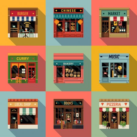 Restaurants and shops facade icons.