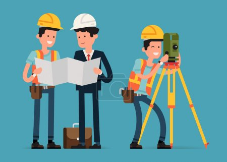 Illustration for Construction and civil engineering industry characters featuring construction worker, architect and land surveyor interacting - Royalty Free Image