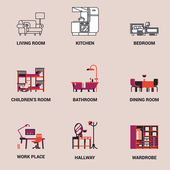 Set of lovely and vector interior design room types icons in trendy flat design featuring living room bedroom kitchen kids' room bathroom dining room work space and hallway