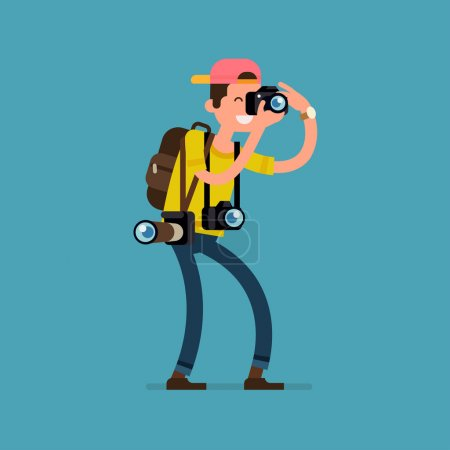 Illustration for Cool vector photographer character web icon with cameras and backpack standing full length taking photos - Royalty Free Image