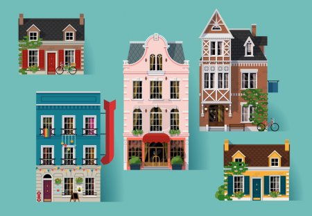 Illustration for Collection of lovely detailed vector old small town retro victorian style building facades - Royalty Free Image