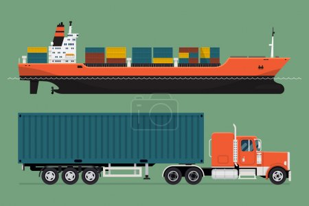 Illustration for Cool detailed vector design elements on freight transport with loaded container ship and semi-trailer tractor unit with sleeper pulling container | Seagoing and road freight commercial cargo - Royalty Free Image