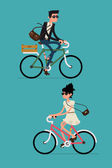 Cool vector character design on adult young man and woman riding bicycles Stylish male and female hipsters on bicycle side view isolated