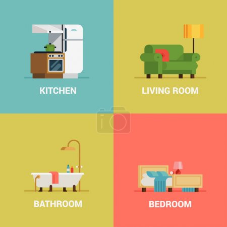 Illustration for Set of lovely and colorful vector interior design room types web icons in trendy flat design featuring living room, bedroom, kitchen and bathroom - Royalty Free Image