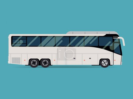 Illustration for Cool modern flat design public transport vehicle intercity longer distance tourist coach bus, side view, isolated - Royalty Free Image