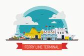 Постер паромная линия терминал