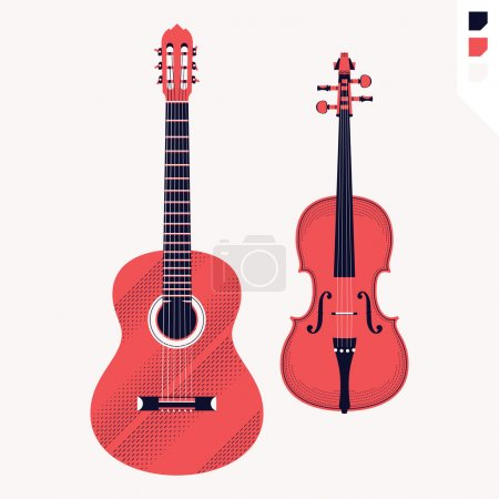 Acoustic guitar and violin.