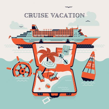 Illustration for Beautiful four colored cruise vacation printable poster or web banner template with cruise transatlantic liner boat and open suitcase with palm tree, beach chairs, boarding pass and passport - Royalty Free Image