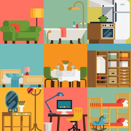Illustration for Set of lovely and colorful vector interior design room types icons in trendy flat design featuring living room, bedroom, kitchen, kids' room, bathroom, dining room, work space and hallway - Royalty Free Image