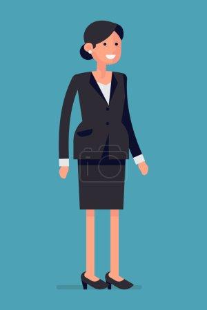 Illustration pour Femme d'affaires confiante et amicale debout sur toute la longueur isolé et souriant - image libre de droit