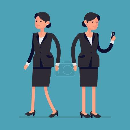 Illustration pour Simple vecteur femme de bureau personnage marchant et debout tenant le téléphone MontréalLa conception d'appartement de femme d'affaires pose MontréalLa femme d'affaires lisant des messages sur le téléphone intelligent et marchant, pleine longueur, isolé - image libre de droit