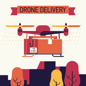 Cool vector trendy flat design on future of drone delivery in online store shipment and delivery service | Quadcopter carrying shipping container box while flying over city skyline