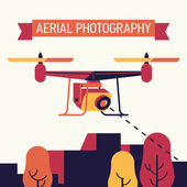 Cool aerial photography flat concept design with copter drone flying over the city taking pictures and video of surroundings from aerial bird's eye view