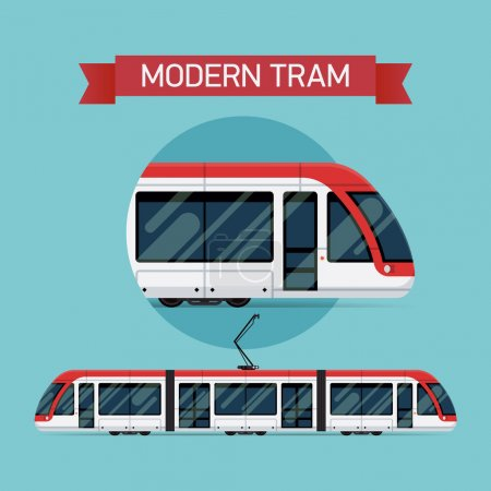 Illustration for Modern vector flat design city light tramway train | Urban tram line car public transport item. Ideal for urban lifestyle, mass transit infographics, graphic and web design - Royalty Free Image